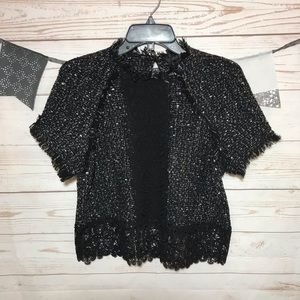Zara Woman Black Tweed Crop Top Crochet Hem S